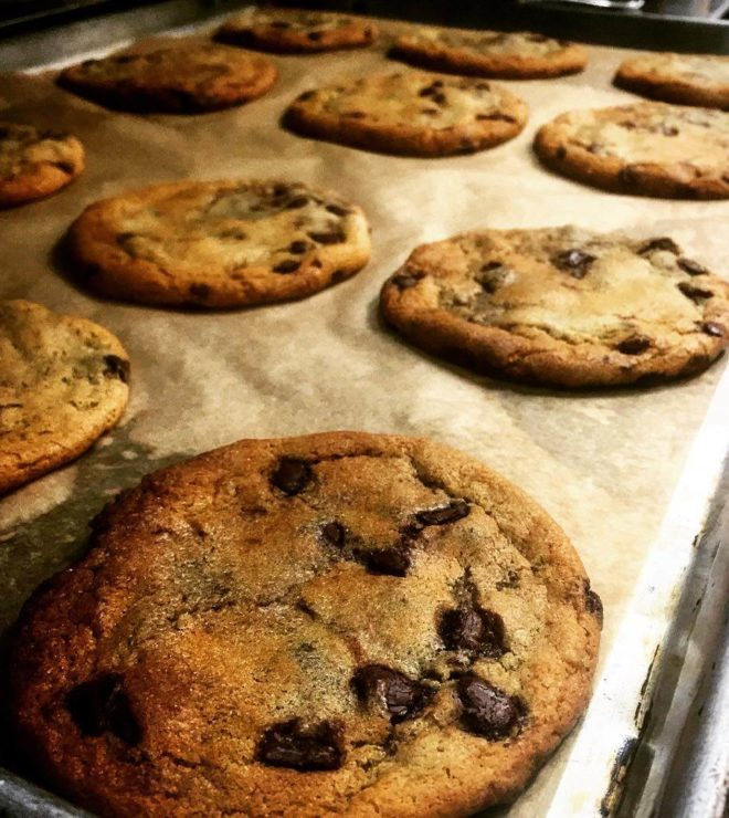 pan of chocolate chips